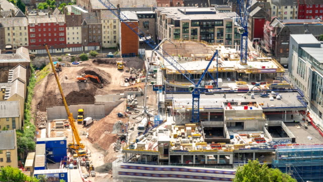 Aerial Time-lapse: Working in Construction Site in Edinburgh United kingdom