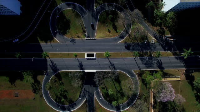 Aerial top down above intersecting roads in Brasilia video