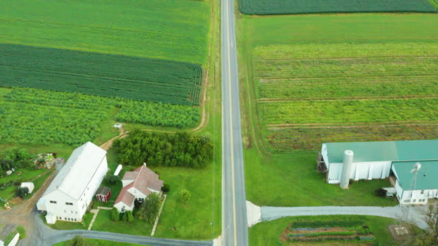 Aerial Top Down View of Rural Farmland in Pennsylvania with Truck Driving Down Road