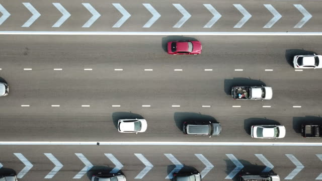 Aerial top down view of traffic jam on a car on Rad