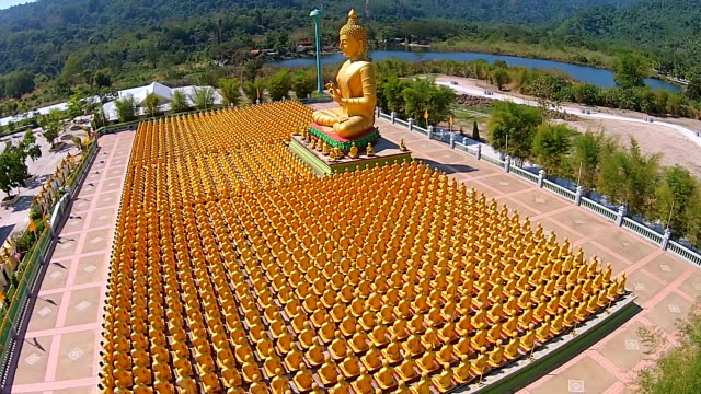 Aerial Top View: many of the golden Buddha video