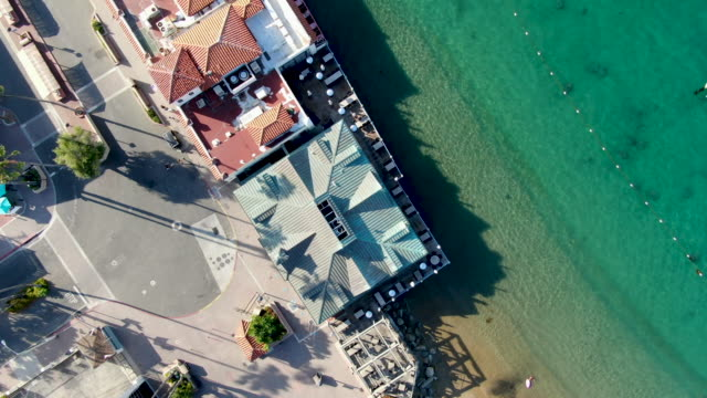 Aerial top view of Avalon downtown in Santa Catalina Island, USA