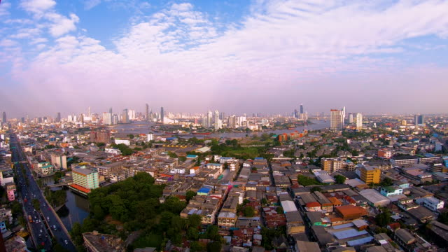 Aerial top view of beautiful nature sky and city  with clouds .time lapse