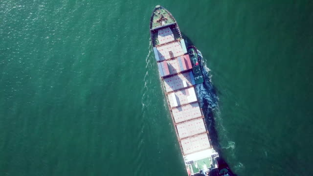 Aerial Top view of Cargo ship