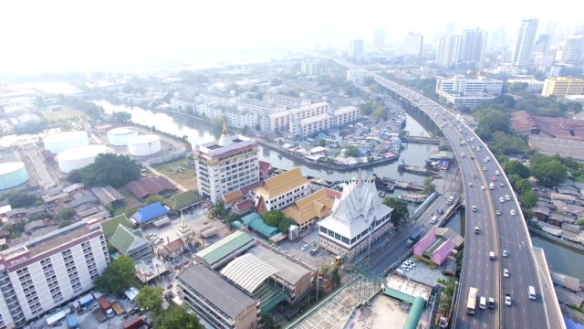 Aerial top view of city video