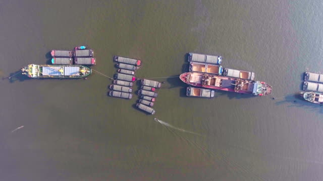 Aerial Top View of Container Ships in River video