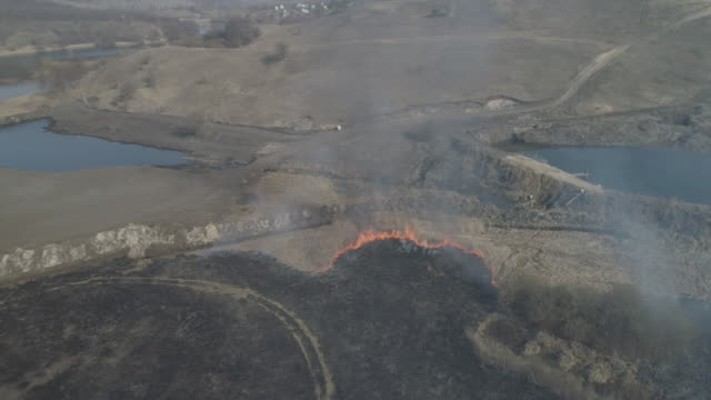 Aerial top view of epic burning dry grass and trees on the field on a spring day close to the village. Ready for color grading. Sunny day Aerial top view of epic burning dry grass and trees on the field on a spring day close to the village. Ready for color grading. Sunny day. siberia stock videos & royalty-free footage