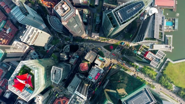 Aerial Top View of financial central business district building of Singapore city at Day Aerial Top View of financial central business district building of Marina Bay Singapore city at Day singapore architecture stock videos & royalty-free footage