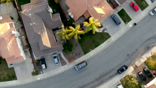 Aerial top view of Menifee neighborhood, residential subdivision vila during sunset