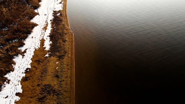 vídeos de stock e filmes b-roll de aerial top view of the shoreline on a warm winter day. yellow grass and pieces of snow on the shore. global warming concept. forward movement - margem do lago