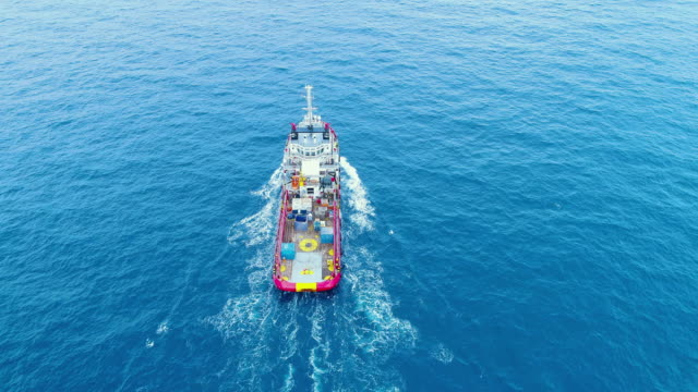 aerial top view ship on the sea for transportation fuel and power concept - natante industriale video stock e b–roll