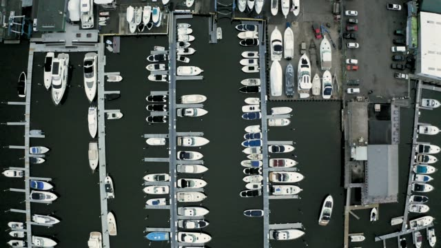 Aerial Top-Down Shot of a Quiet, Empty Marina (Norwalk, Connecticut) Shot on DJI Mavic 2 Pro on May 11, 2019 connecticut stock videos & royalty-free footage