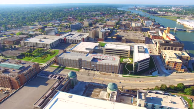 Aerial tour of scenic urban downtown district video
