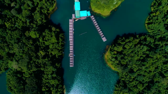 Aerial: Tourist base on the lake among the mountains and the jungle. video
