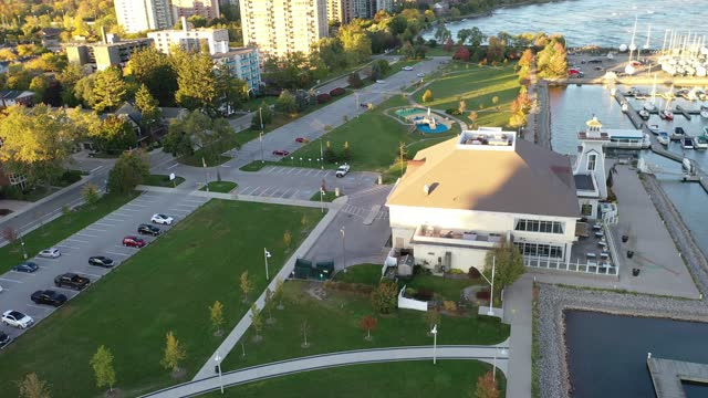Aerial townscape and Bill Hill Promenade Park at the lakeside of Lake Ontario, Oakville, Canada