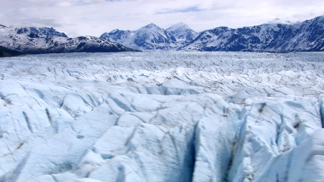 Aerial tracking shot over Alaskan glacier video