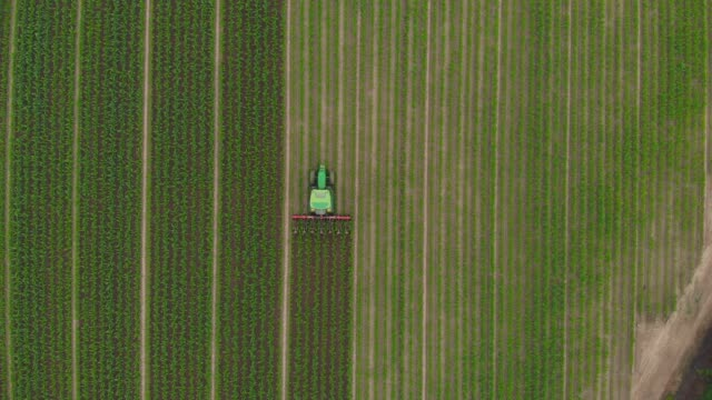 aerial: tractor working on cultivated fields, cycling road crossing countryside - trattore video stock e b–roll