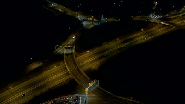 Aerial - Traffic at ring road with roundabout at night video