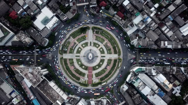 Aerial Traffic circle roundabout