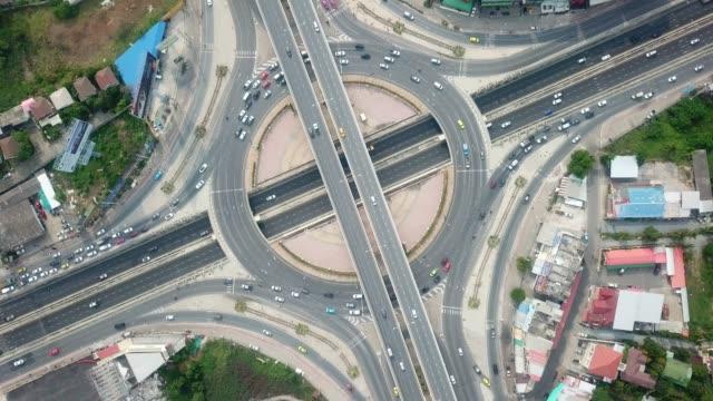 vidéos et rushes de aérien: carrefour giratoire - rond point