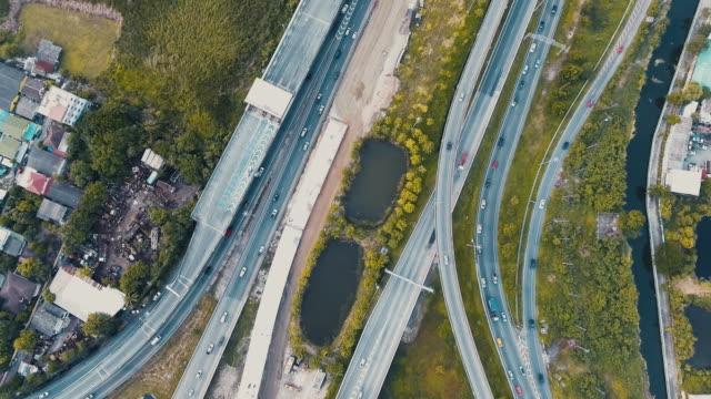 Aerial traffic on highway video