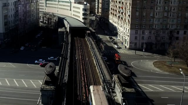 Aerial Transit River Bridge Moscow Subway video