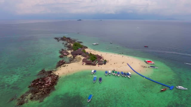 Aerial :Traveler at Island video