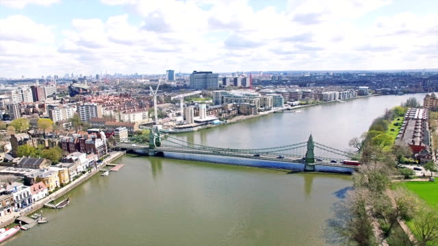 Aerial Urban View of River and Bridge in City of London video