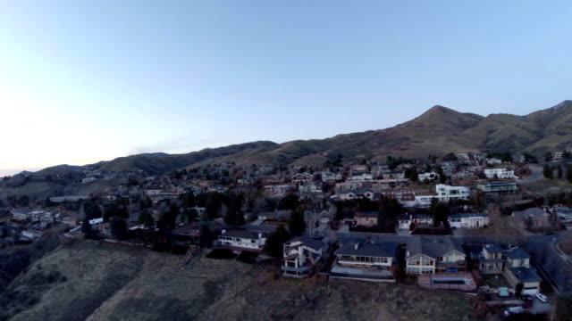 Aerial Utah Salt Lake City Aerial shot of salt lake city at sunset. utah stock videos & royalty-free footage