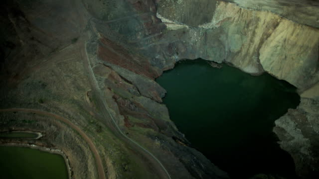 Aerial vertical view of a large salt  quarry  USA video
