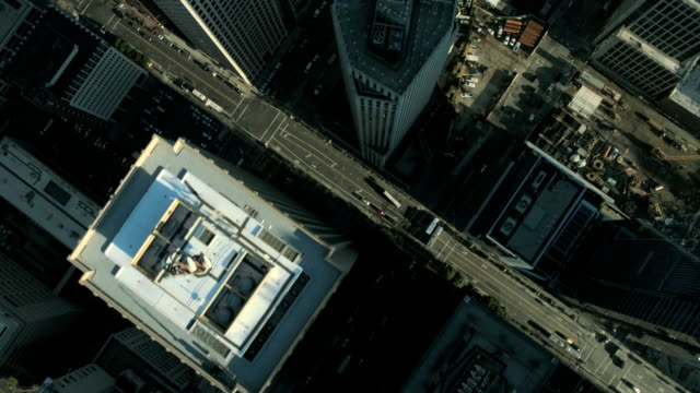 Aerial vertical view of skyscrapers and congested streets, USA