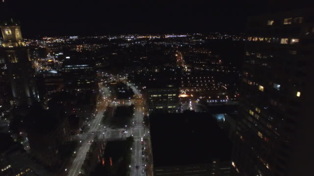 Aerial video Boston at night video