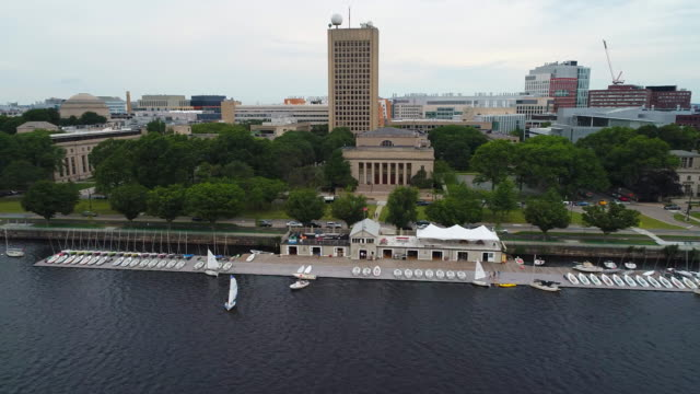 Aerial video Charles River boston sailing video