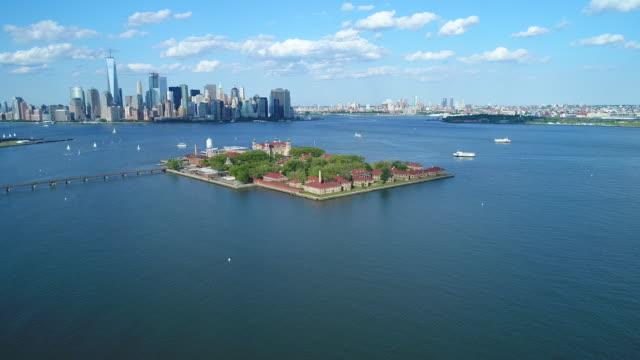 Aerial video Ellis Island New York video