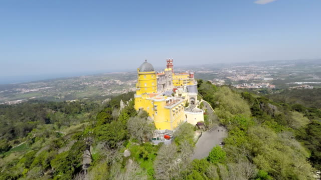 Aerial video footage of Pena National Palace in Sintra, Portugal