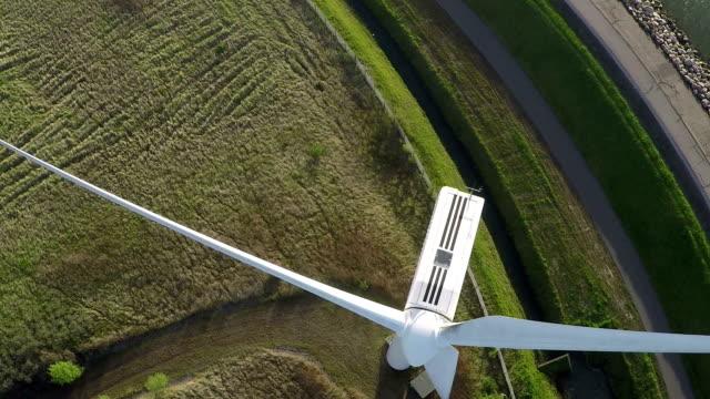 Aerial video from wind generator / wind turbine video