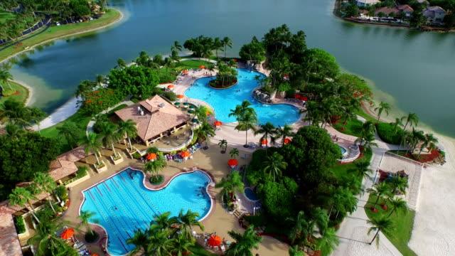 Aerial video Lagoon pool