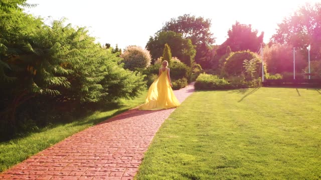 Aerial video. Luxurious queen walks in the garden. Shooting from the back A blonde lady in a dress with is walking in the park. long train flutters and flies in the wind. Aerial video. Luxurious mysterious queen walks in the garden. Shooting from the back, without face princess stock videos & royalty-free footage