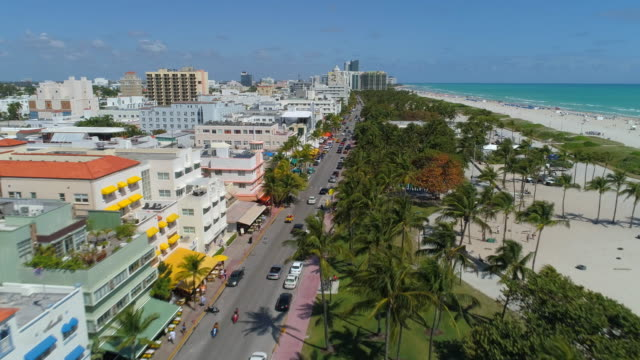 Aerial video Miami Beach Ocean Drive 4k 24p video