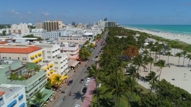 aerial video miami beach ocean drive 4k 24p - art deco architecture stock videos & royalty-free footage
