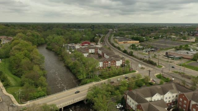 Aerial Video of a Dam and the Huron River in Ypsilanti, Michigan