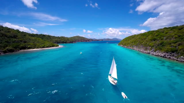 aerial video of a sloop sailing through the Caribbean video