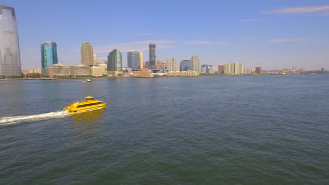 Aerial video of a water taxi video