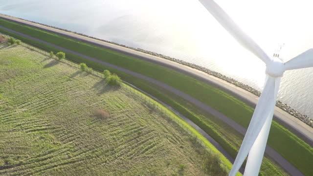 Aerial video of a wind generator / wind turbine video