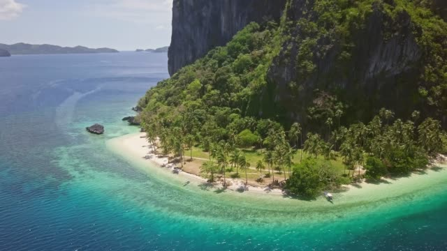 Aerial Video Of Beach In Pinagbuyutan Island El Nido Palawan