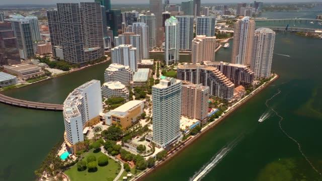 Aerial video of Brickell Key Florida