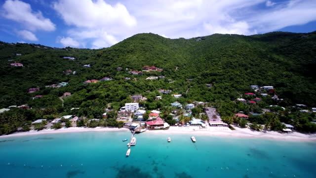 aerial video of Cane Garden Bay, Tortola, British Virgin Islands video