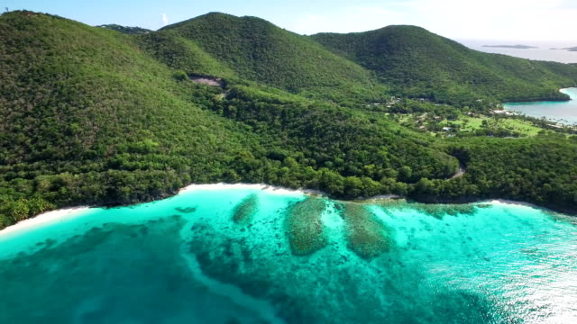 aerial video of Caneel and Hawsknest Bays, St.John, USVI video