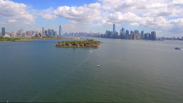 Aerial video of Ellis Island New York video