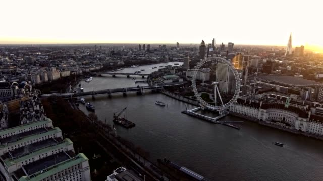 aerial video of london eye aka wheel feat skyscrapers 4k - london architecture stock videos & royalty-free footage